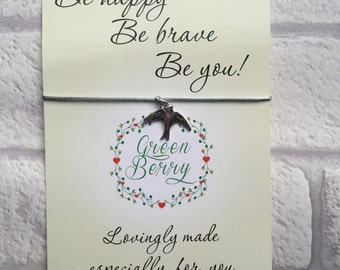 "Swallow charm String Bracelet on ""Be Happy Be Brave Be You"" quote card stars madebygreenberry wish bracelet"