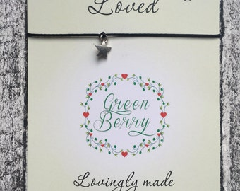 "Solid Star String Bracelet on ""you are truly loved"" quote card stars madebygreenberry wish bracelet"