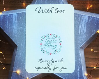With Love quote card with choice of charm madebygreenberry wish bracelet