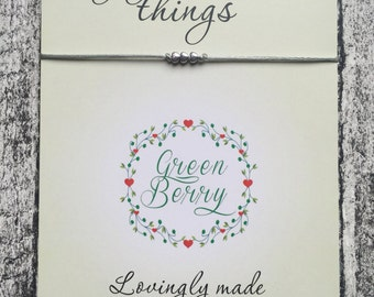 "Three Tiny Heart charm String Bracelet on ""Enjoy the little things"" quote card madebygreenberry wish bracelet"