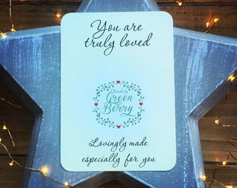 You are truly loved quote card with choice of charm madebygreenberry wish bracelet