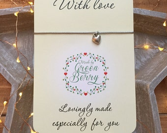 """3D Heart charm String Bracelet on """"With Love"""" quote card madebygreenberry wish bracelet"""