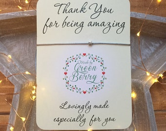 "Tiny Star charm String Bracelet on ""Thank You"" quote card stars thankyou madebygreenberry wish bracelet"