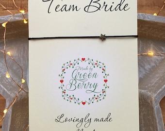 "Tiny Star charm String Bracelet on ""Team Bride"" quote card stars madebygreenberry wish bracelet"
