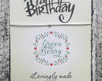 "Tiny Heart String Bracelet on ""Happy Birthday"" quote card madebygreenberry wish bracelet"
