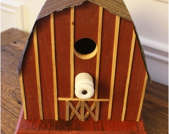 Barn Bird House Reclaim Barn Board Pure Canadian Woodland Repurpose Recycle Rustic Birdhouse Roof JunkWhisperer