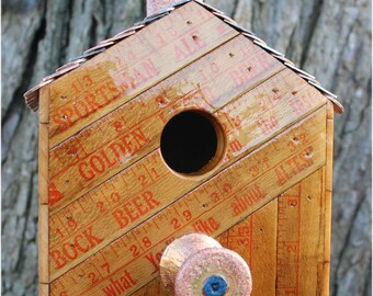 Made to Order - Vintage Yardsticks Bird House, Hanging Birdhouse, Repurpose, Upcycle, Canadian Pennies, Pool Ball, Wooden Spool