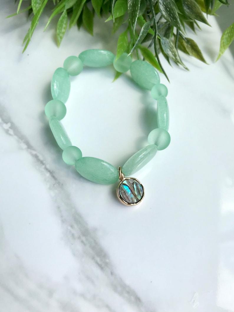 Handmade light green bracelet set