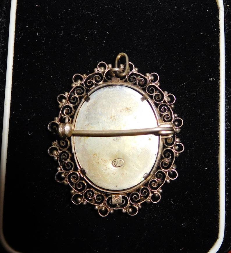 Vintage Antique Sterling Silver Filigree .800 Handpainted Beveled Glass Old Brooch Pin Pendant