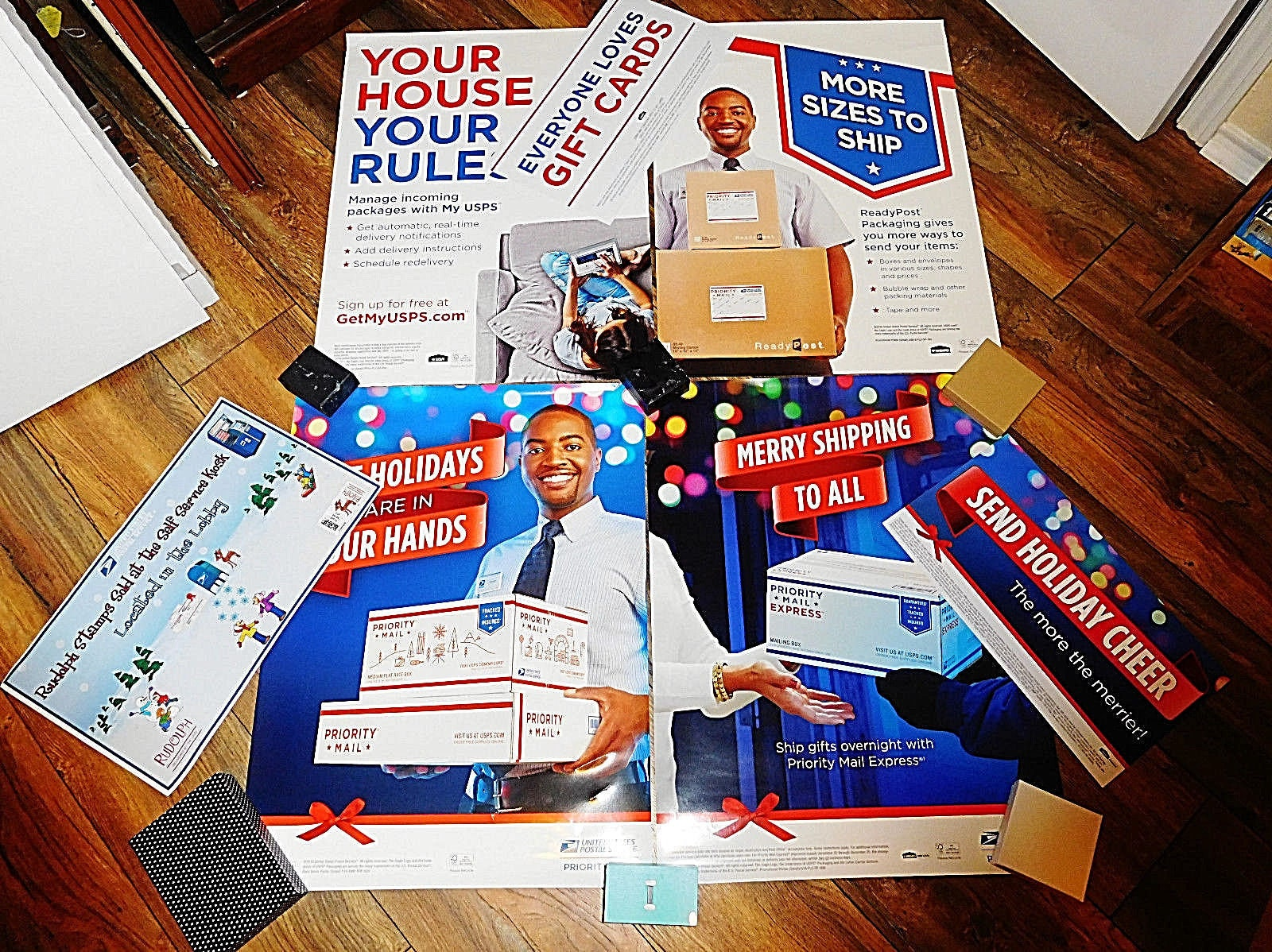 7 LOT Post Office USPS United States Postal Service Advertising Sign  CHRISTMAS