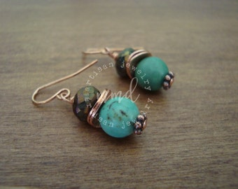 African Turquoise and Bronzed Pyrite Earrings