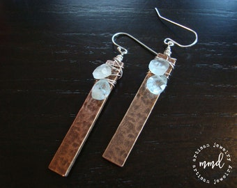 Textured Copper and Sterling Silver Wire Wrapped Aquamarine Long Dangle Earrings