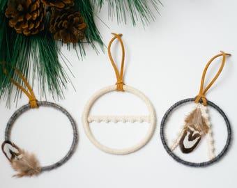 Bohemian Winter Ornaments, Dreamcatcher Christmas Ornaments, Boho Christmas Gift, Mini Dream Catcher, Holiday Ornaments, Rustic Ornaments