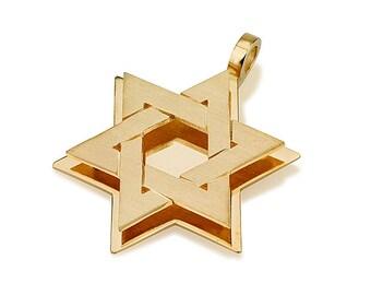 Magen David Pendant in Yellow Gold- 18k Gold Embossed Star of David Pendant