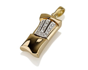 Mezuzah Pendant in 18k Gold - Yellow and White Gold Charm- Judaica Necklace