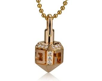 18k Rose Gold and Diamond Drediel Necklace-Unique gold Dreidle Pendant-Free Shipping