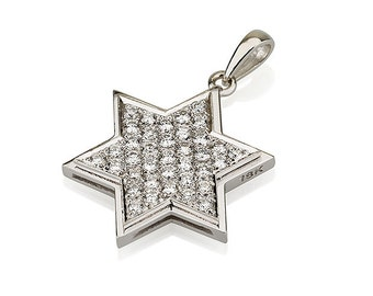 Star of David Pendant in White Gold And Diamond - Magen David Pave Diamond Neckalce in White Gold