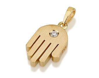 Hamsa Pendant with Diamonds- Yellow Gold Hand Necklace