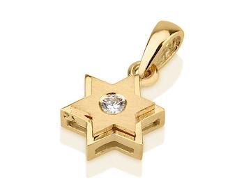 Star Of David Pendant- Diamond Magen David- Judaica Charm