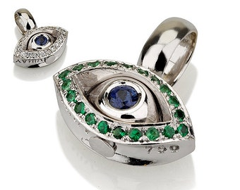 Evil Eye Pendant- White Gold and Diamond Charm with Sapphire-Precious Gem Stones Necklace- Diamond, Sapphire and Tzavorite Pendant