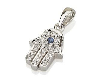 Diamond Hamsa with Sapphire-White Gold and Diamond Hand Pendant