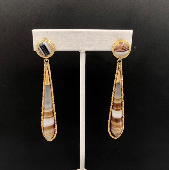 Victorian Banded Agate 14K Dangle Earrings, 14K A… - image 3