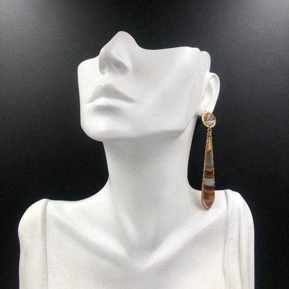 Victorian Banded Agate 14K Dangle Earrings, 14K A… - image 8