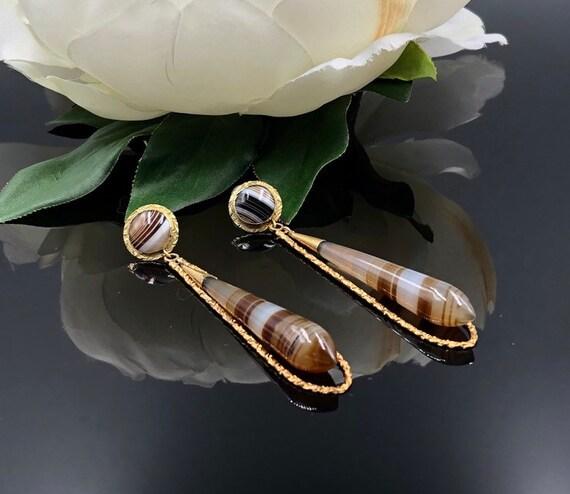Victorian Banded Agate 14K Dangle Earrings, 14K A… - image 2