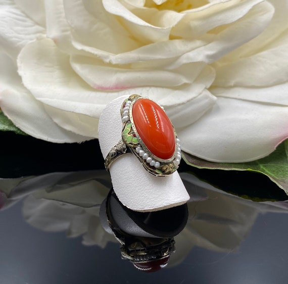 14K Antique Coral Ring, Victorian Red Coral Ring,