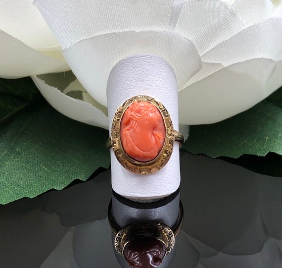 Victorian 10K Coral Cameo Ring