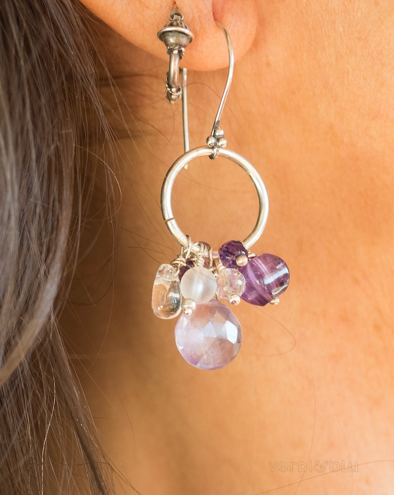 Amethyst rock crystal and silver earrings April and February birthstone one of a kind gift Shining and lightweight seventh chakra stones
