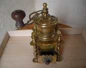 Old French Coffee Mill. Vintage Brass Coffee Grinder.