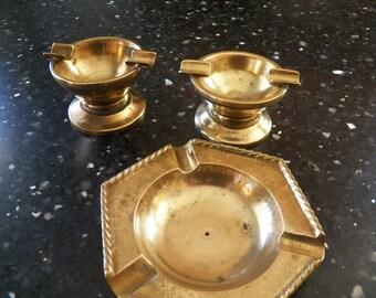 Hand Turned Vintage Set of 3 Brass Ashtrays Handmade 1970's