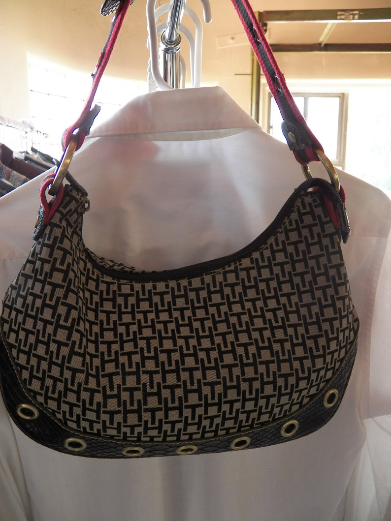 ec094ae059 Tommy Hilfiger Signature Cloth Slouch Shoulder Used Purse Bag | Etsy