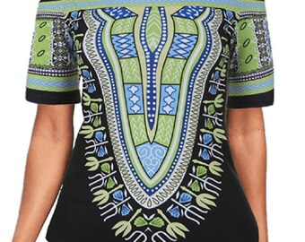Women's Off The Shoulder Loose Dashiki Print Top