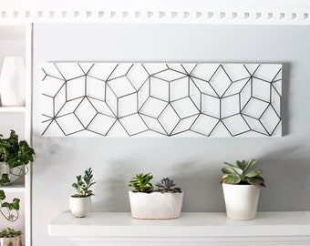 Geometric Wall Art Black And White 3D Modern Decor Unique Living Room Bedroom