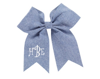 Personalized Chambray Hair Bow - Free Monogram Embroidery