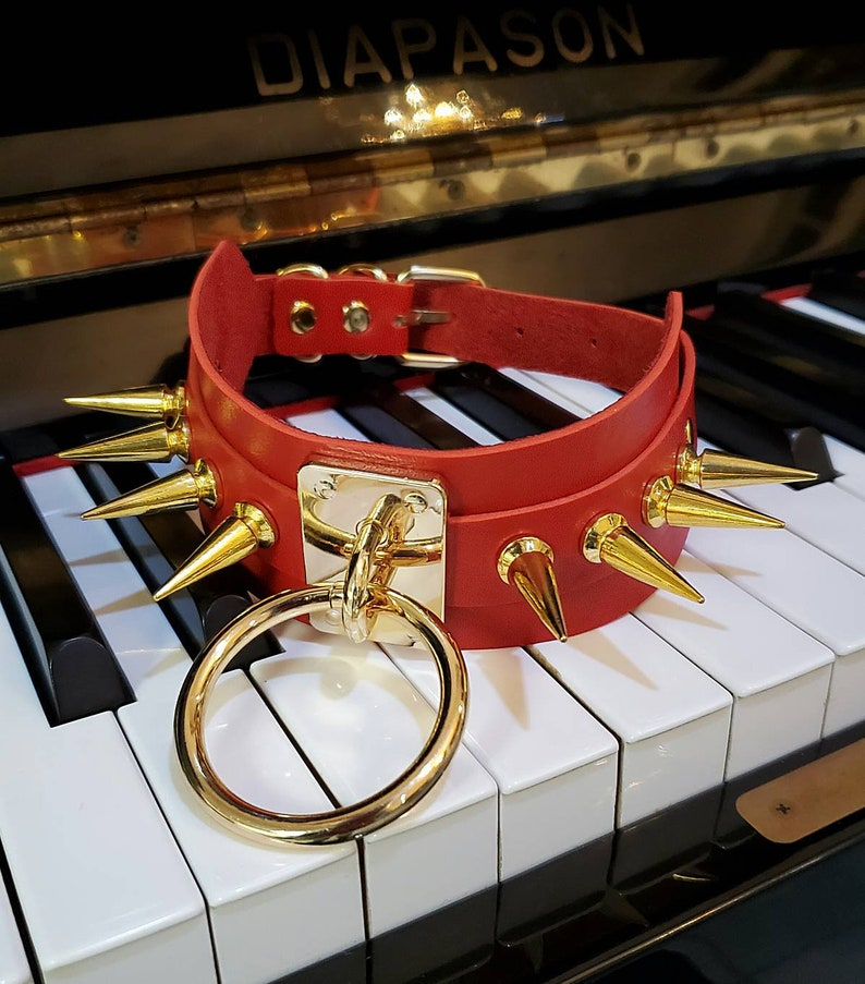 Red Vegan Leather Mega XL Spikes O-Ring Wide Choker Necklace