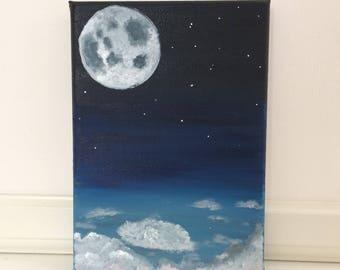 Moon - Original acrylic painting on canvas.