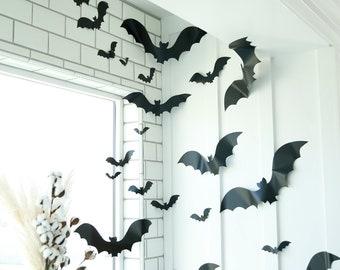 SALE! Vinyl bats 24/set - 7 sizes! QUICK SHIP! Use in all kinds of decor! Indoor-Outdoor bats, halloween decor, large bats