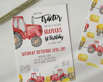 Red Tractor Birthday Invitation, Editable Red Tractor Invite, Farm Theme Party, Farm Birthday Party, Instant Download, Printable, A035