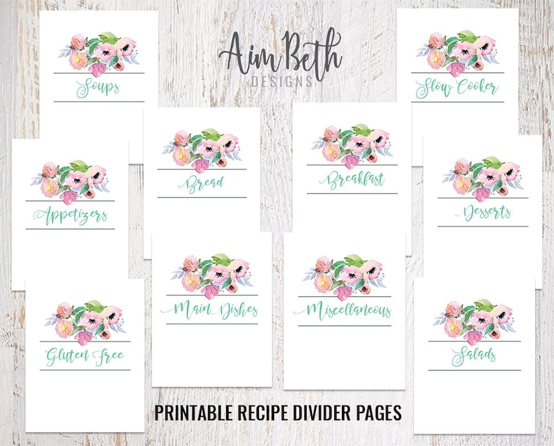 image about Free Printable Recipe Binder Kit called PRINTABLE Recipe Binder Package Component Dividers, Custom made Recipe Reserve, Cookbook Company, Do-it-yourself Recipe Binder, Recipe Small business