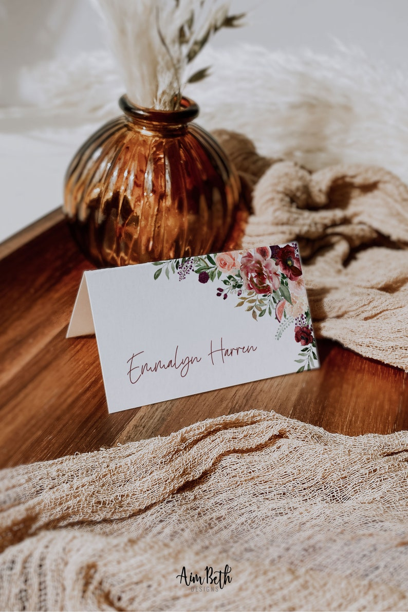 Boho Maroon Food Label Tent Cards Burgundy Decor Burgundy Wedding Place Cards Marsala Escort Cards Burgundy Floral Name Cards A040