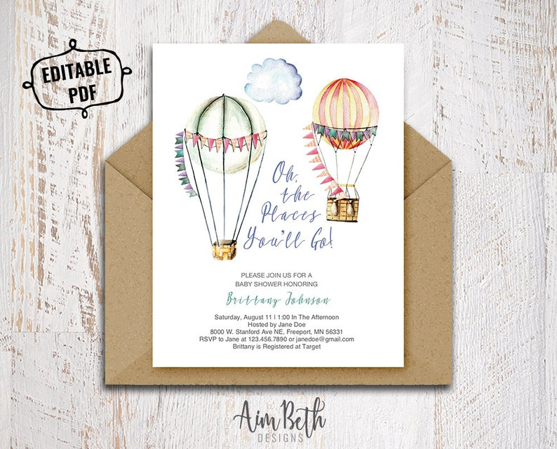 graphic relating to Oh the Places You Ll Go Balloon Printable Template identified as Oh The Spots Youll Transfer Little one Shower Invitation Template Printable Youngster Shower Invite Gender Impartial Boy or girl Shower Push Boy or girl Shower Invite