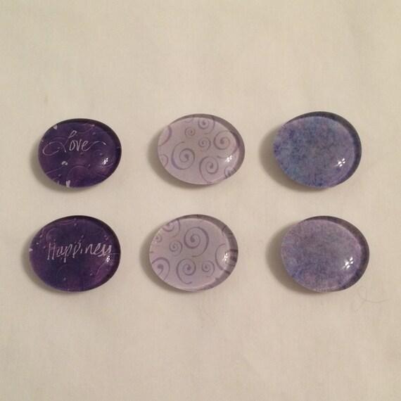 Jumbo Love & bonheur verre aimants pour réfrigérateur avec violet, lavande, Violet, tendance parti faveurs dons particuliers