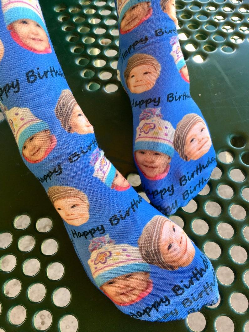 13886d3013180 Happy Birthday Custom Photo Socks Custom Photo Birthday | Etsy