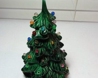 "Small Ceramic Christmas Tree with Jewel Bead Lights, Holland Mold, Vintage Ceramic Christmas Tree 6"" Tall"