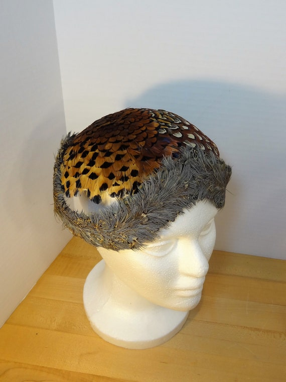 Vintage Pheasant Feather Hat, Women's Coquette For