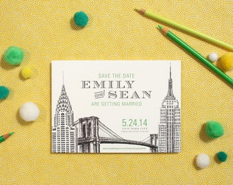 NYC Save the Date // New York Wedding // Illustrated Save the Date // 100 Cards + Envelopes