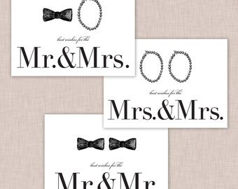 Mr. & Mrs. Cards // LGBT Wedding Cards // Gay Wedding Card // Wedding Cards